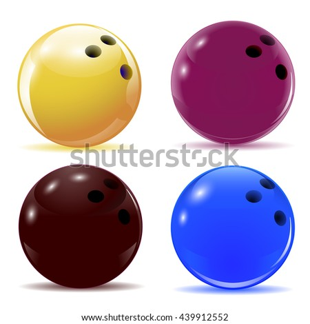 Multi-colored bowling balls. Isolated objects with shadows on the theme of sport. Raster illustration - stock photo