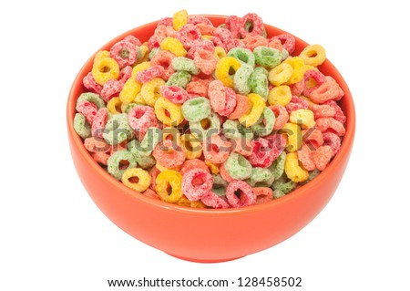 Multi colored cereal bowl on white background