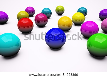 Multi colored chrome balls background 3d render