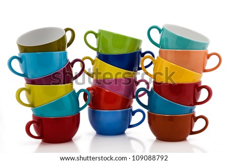 Multi Colored Coffee or Tea Cups  isolated on white - stock photo