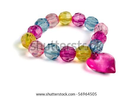 Multi-colored glass beaded bracelet isolated on white - stock photo