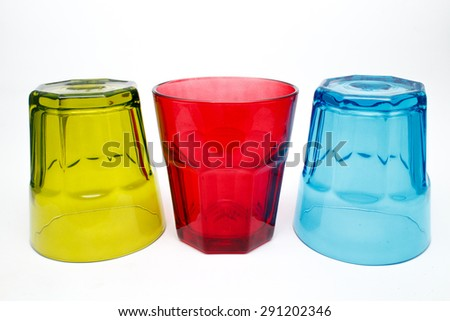Multi-colored glasses on a white background.