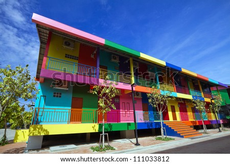Multi-colored houses in Pattaya Thailand. - stock photo