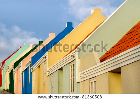 Multi colored houses in the island of Curacao in the Caribbean