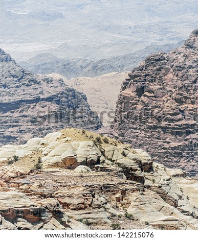 Multi-colored mountains - Jordan - stock photo