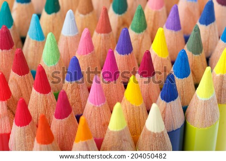 Multi colored pencils macro shot - stock photo