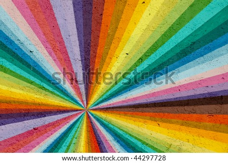 multi colored rainbow painted wall - stock photo