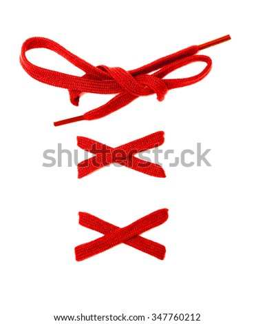Multi Colored shoelaces on a white background - stock photo