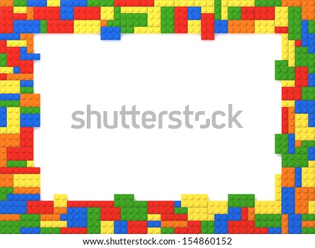 Multi-Colored Toy Bricks Picture Frame with white background.