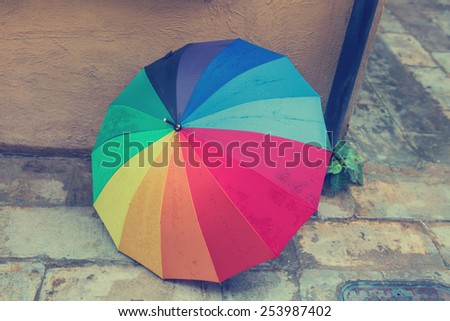 Multi-colored umbrella vintage. - stock photo