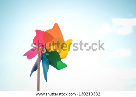 Multi colored Windmill toy - stock photo