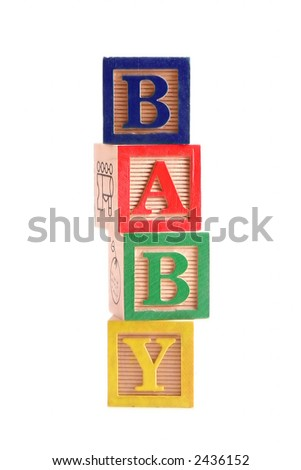"Multi-colored wooden blocks spelling the word ""Baby"" stacked vertically.  White background, isolated."