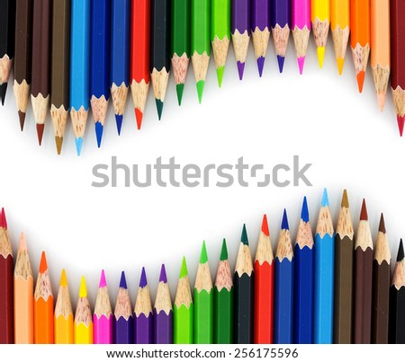 multi colour pencils isolated on white background - stock photo