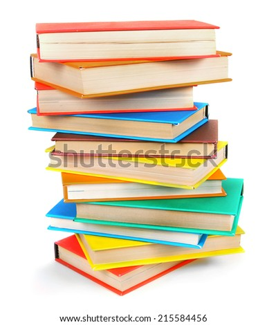 Multi-coloured books. On a white background.