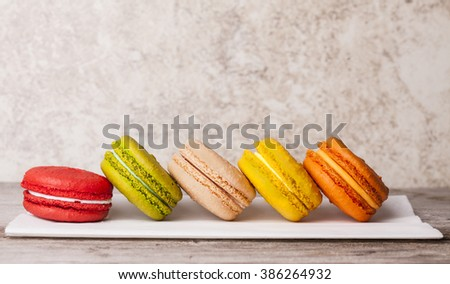 Multi Coloured Parisian Macaroons on Display