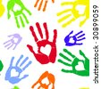 Multi-coloured prints of hands with heart. raster version - stock photo