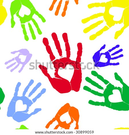 Multi-coloured prints of hands with heart. raster version