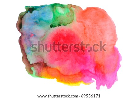 Multi-coloured spot, watercolour abstract hand painted background - stock photo