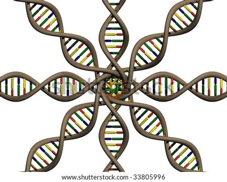 multi DNA representation - stock photo