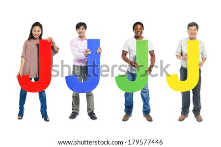 Multi-ethnic and Diverse People Holding The Letter J