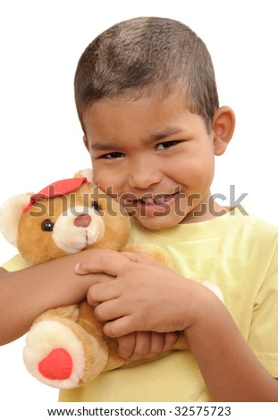 multi-ethnic boy with a teddy bear - stock photo
