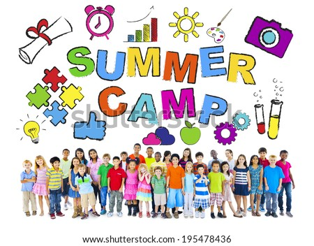 Multi-Ethnic Group of Children with Summer Camp Concepts - stock photo