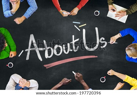 Multi-Ethnic Group of People and About-Us Concept - stock photo