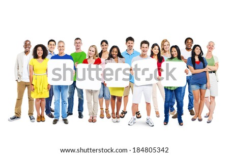 Multi-Ethnic Group Of People Holding 5 Blank Placards - stock photo