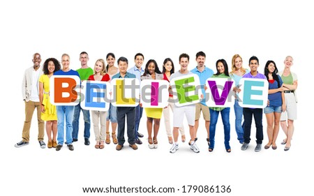 Multi-ethnic Group of People Holding Boards with Believe - stock photo