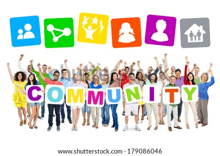 Multi-ethnic Group of People Holding Boards with Community and Symbols - stock photo