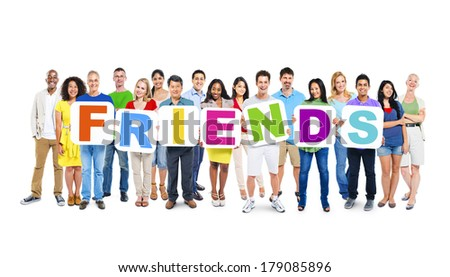 Multi-ethnic Group of People Holding Boards with Friends - stock photo