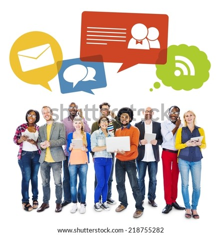 Multi-Ethnic Group Of People Holding Electronic Devices To Social Network - stock photo