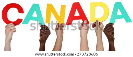 Multi ethnic group of people holding the word Canada isolated - stock photo