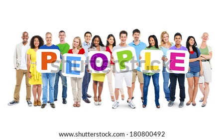 Multi-Ethnic Group Of People Holding The Word People - stock photo