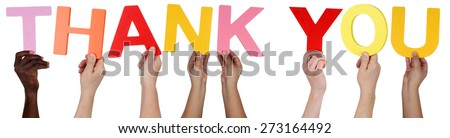 Multi ethnic group of people holding the word Thank You isolated - stock photo