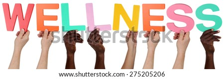 Multi ethnic group of people holding the word wellness isolated - stock photo