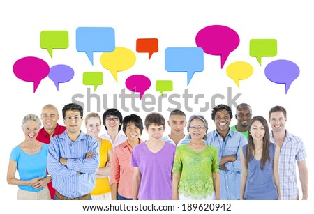 multi-ethnic group of people isolated on white background with speech bubbles. - stock photo