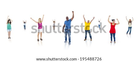Multi-Ethnic Group Of People With Their Arms Raised Standing Individually In A White Background.