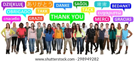 Multi ethnic group of smiling young people saying thank you in different languages - stock photo