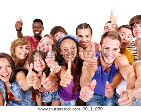 Multi-ethnic group people.  Isolated. - stock photo