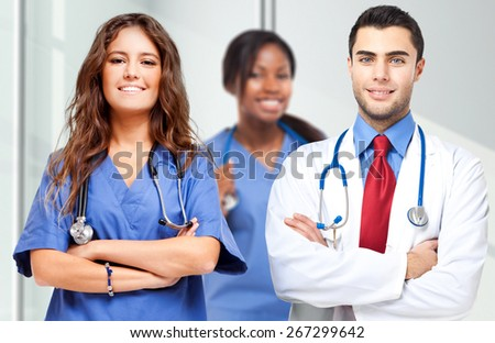 Multi ethnic medical team - stock photo