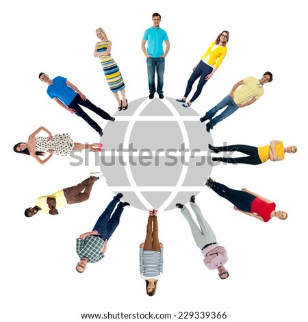 Multi-ethnic people standing around the globe sketch - stock photo