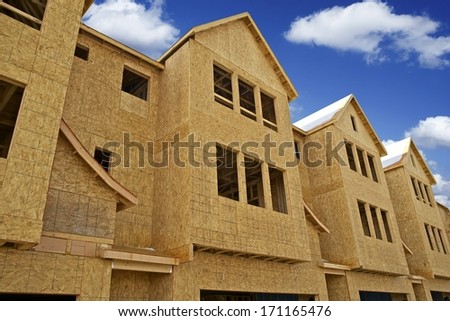 Multi Family Home Under Construction - Town Homes Under Development. Construction Works in United States. - stock photo