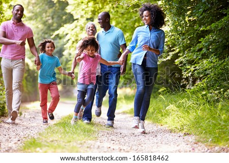 Multi Generation African American Family On Country Walk - stock photo