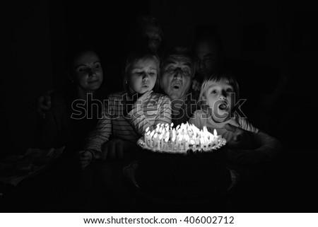 Multi Generation Family Celebrating Birthday  - stock photo