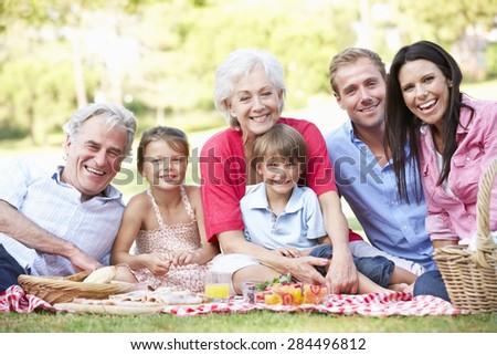 Multi Generation Family Enjoying Picnic Together - stock photo
