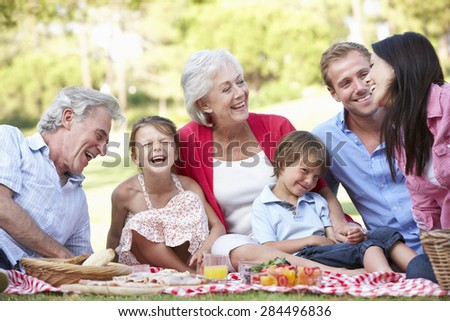 Multi Generation Family Enjoying Picnic Together - stock photo