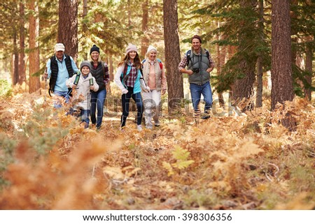 Multi generation family hiking in a forest, foreground space - stock photo