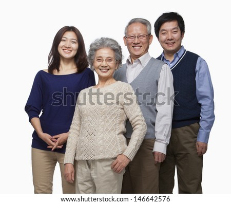 Multi generation family portrait - stock photo