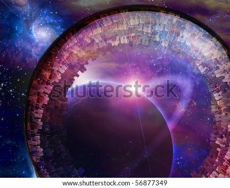 Multi-generational Interstellar City Ship - stock photo